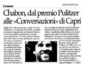 Chabon, dal premio Pulitzer alle Conversazioni di Capri