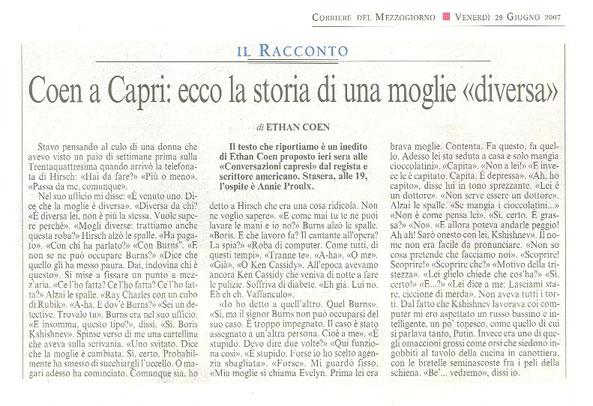 """Coen a Capri: ecco la storia di una moglie """"diversa"""""""