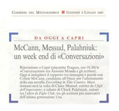 "McCann, Messud, Palahniuk: un week end di ""Conversazioni"""
