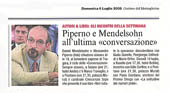 "Piperno e Mendelsohn all'ultima ""conversazione"""