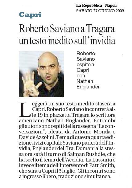 Roberto Saviano a Tragara un testo inedito sull'invidia
