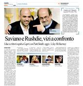 Saviano e Rushdie, vizi a confronto