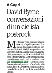 David Byrne, conversazioni di un ciclista post-rock